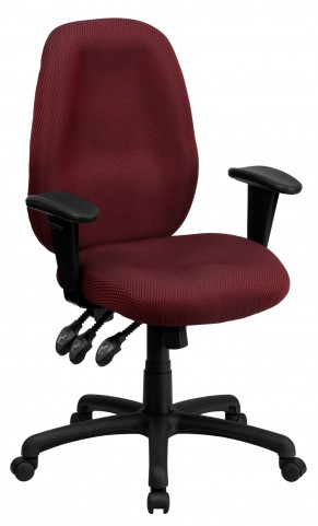 High Back Burgundy Ergonomic Task Arm Chair