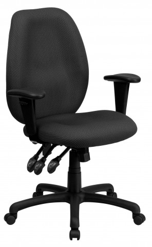 High Back Gray Ergonomic Task Arm Chair