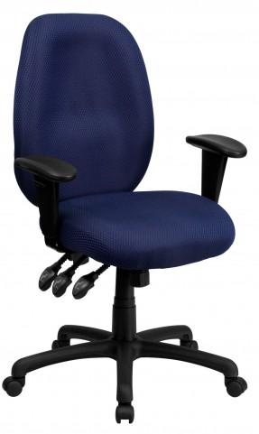 High Back Navy Ergonomic Task Arm Chair