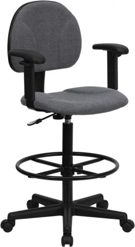 Gray Multi Functional Ergonomic Drafting Stool with Arms (Adjustable Range 26''-30.5''H or 22.5''-27''H)