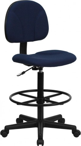 Navy Blue Patterned Multi Functional Ergonomic Drafting Stool (Adjustable Range 26''-30.5''H or 22.5''-27''H)