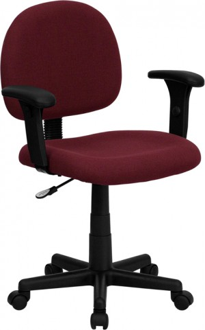 Ergonomic Burgundy Task Chair with Adjustable Arms