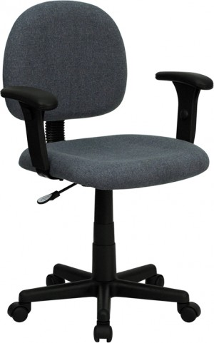 Ergonomic Gray Task Chair with Adjustable Arms