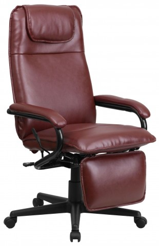 High Back Burgundy Executive Office Chair Reclining