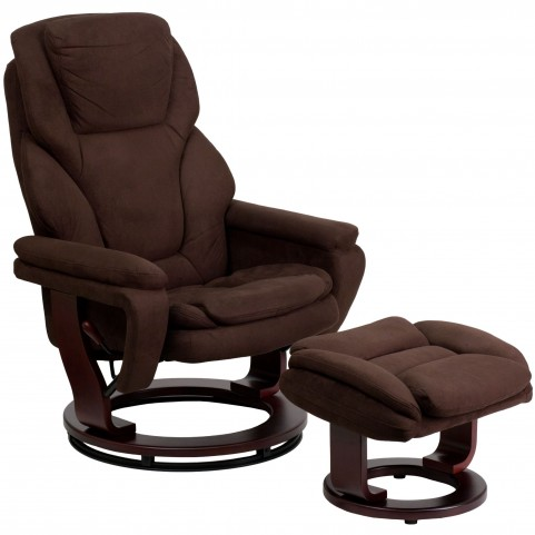 1000392 Brown Recliner and Ottoman