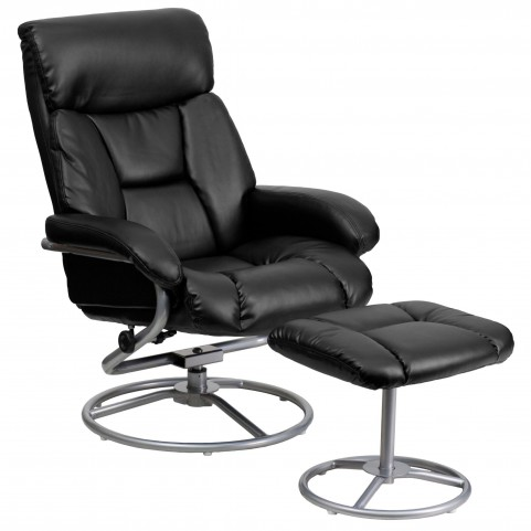 1000393 Black Recliner and Ottoman