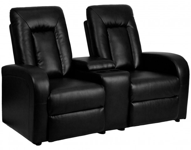 Black Leather 2-Seat Home Theater Console Recliner