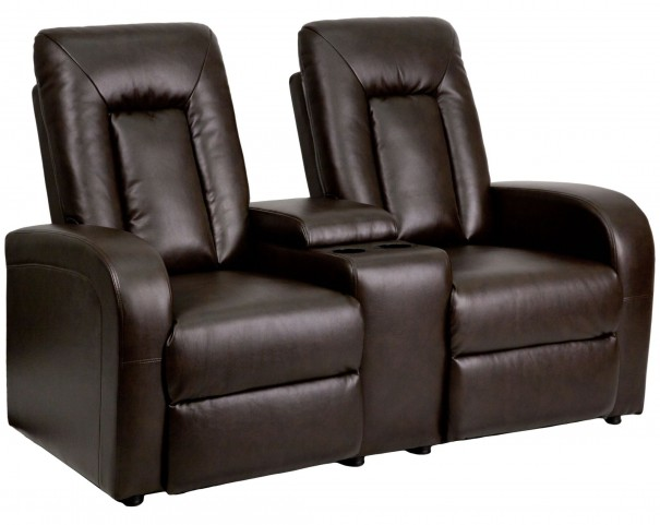 Brown Leather 2-Seat Home Theater Console Recliner
