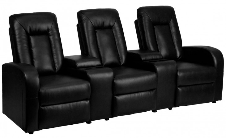 Black Leather 3-Seat Home Theater Console Recliner