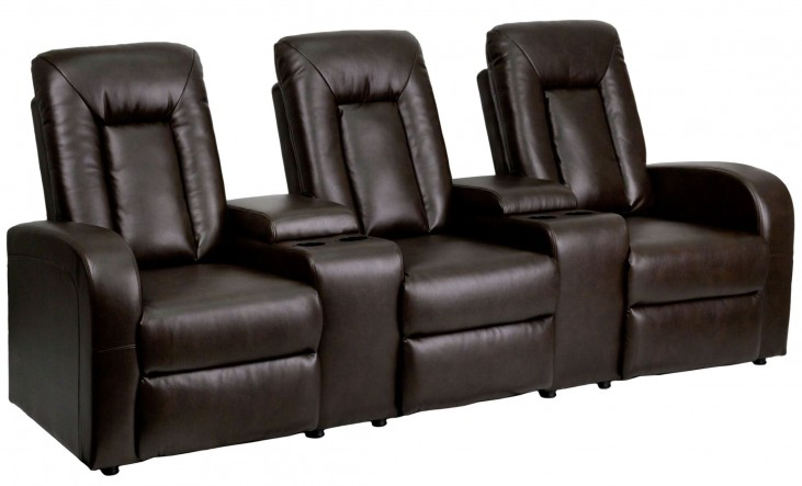 Brown Leather 3-Seat Home Theater Console Recliner