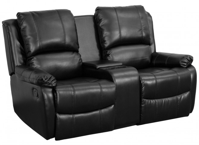 Black Leather Pillowtop 2-Seat Home Theater Console Recliner