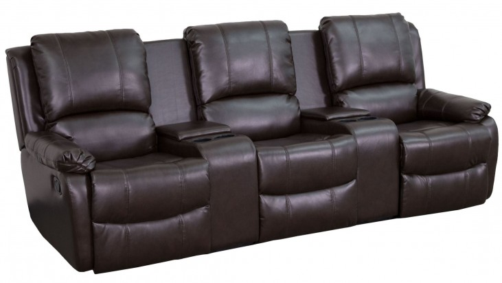 Brown Leather Pillowtop 3-Seat Home Theater Console Recliner