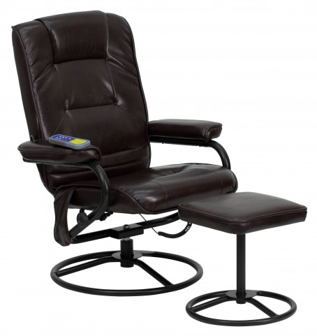 Massaging Brown Recliner & Ottoman