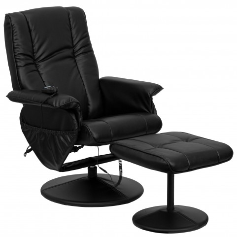 1000407 Massaging Black Recliner and Ottoman