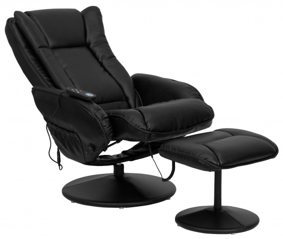 Massaging Black Recliner & Ottoman