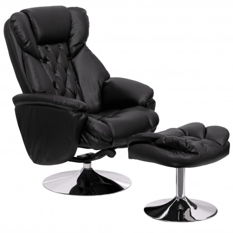 1000411 Black Recliner and Ottoman