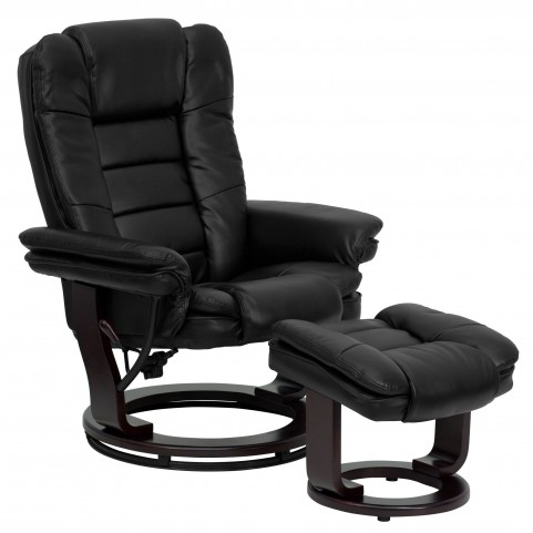 1000412 Black Recliner and Ottoman