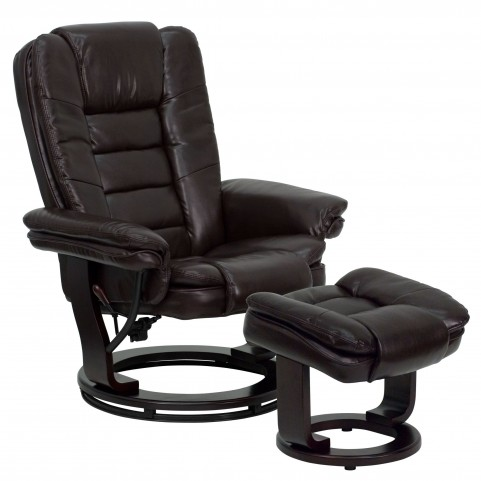 1000413 Brown Recliner and Ottoman