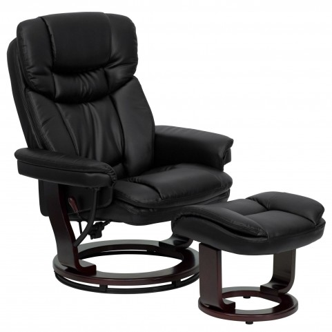 1000414 Black Recliner and Ottoman