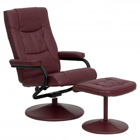 1000419 Burgundy Recliner and Ottoman