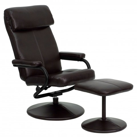 1000423 Brown Recliner and Ottoman