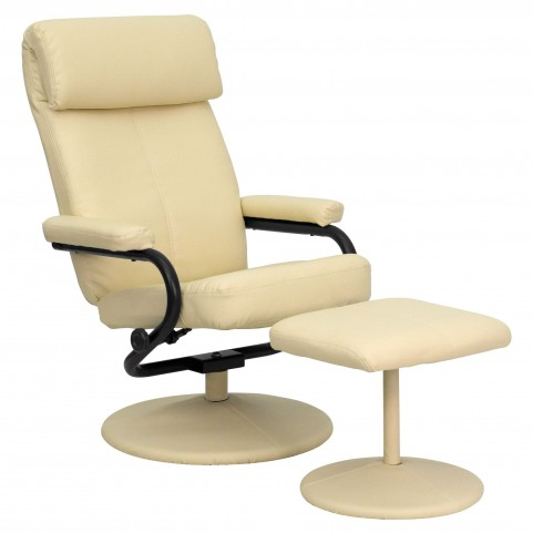 1000425 Cream Recliner and Ottoman
