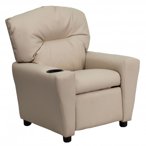 Beige Kids Recliner with Cup Holder