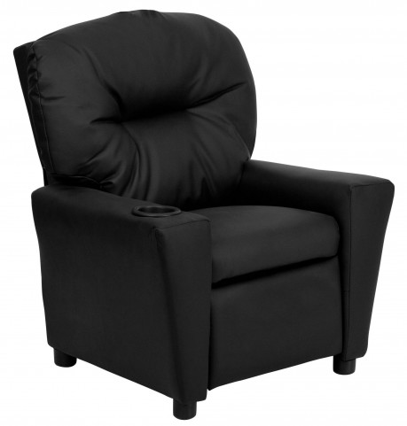 Black Vinyl Kids Recliner with Cup Holder