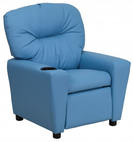 Light Blue Kids Recliner with Cup Holder