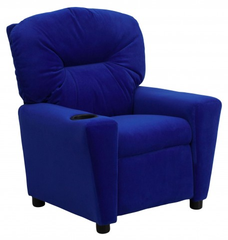 1000437 Blue Kids Recliner with Cup Holder