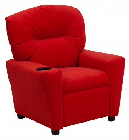 1000441 Red Kids Recliner with Cup Holder