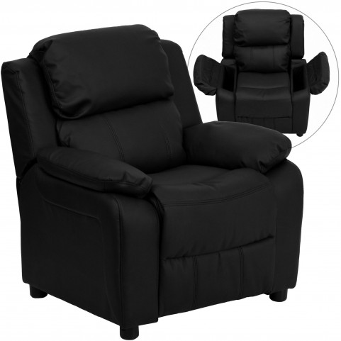 Deluxe Heavily Padded Black Kids Recliner Storage Arm