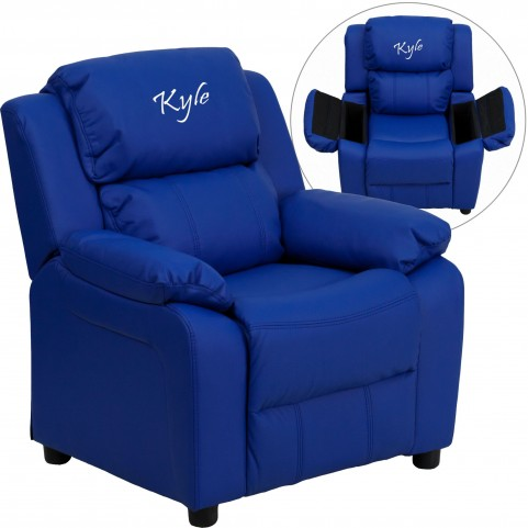 1000451 Deluxe Heavily Padded Blue Kids Storage Arm Recliner