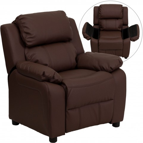 Deluxe Heavily Padded Brown Kid's Storage Arm Recliner