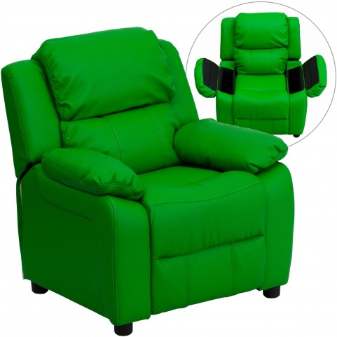 Deluxe Heavily Padded Green Kids Storage Arm Recliner
