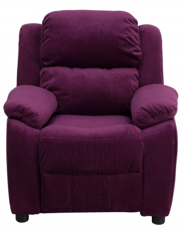 1000461 Deluxe Heavily Padded Purple Kids Storage Arm Recliner