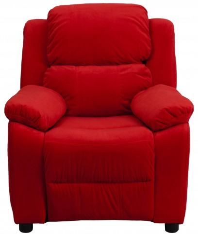 1000462 Deluxe Heavily Padded Red Kids Storage Arm Recliner