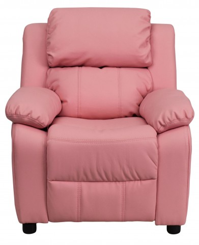 Deluxe Heavily Padded Pink Kids Storage Arm Recliner