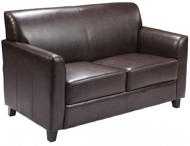 Hercules Diplomat Series Brown Leather Loveseat