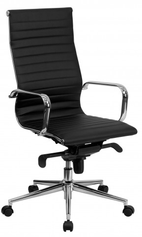 Tall Black Ribbed Upholstered Executive Office Chair