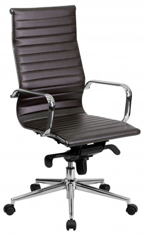 High Back Upholstered Brown Ribbed Executive Office Chair