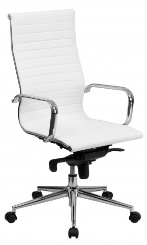 High Back White Bonded Leather Ribbed Upholstered Executive Office Chair