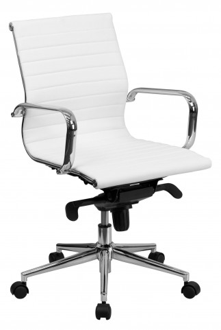 White Ribbed Upholstered Conference Chair