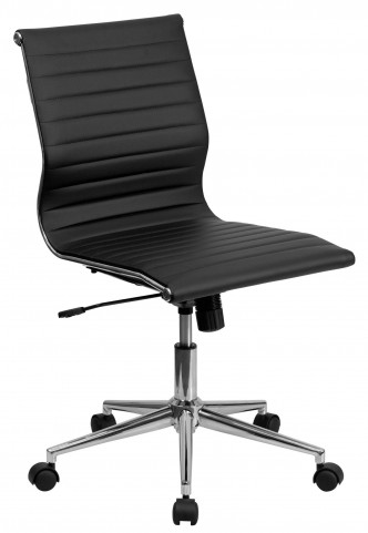 Armless Black Ribbed Upholstered Conference Chair