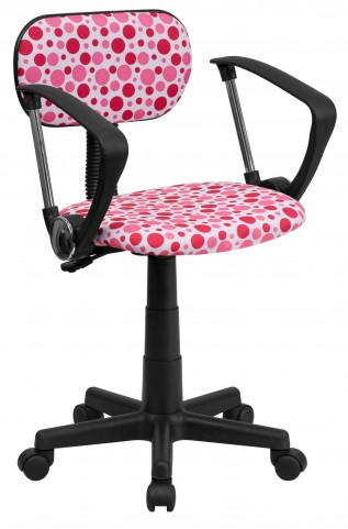 Printed Pink Dot Computer Arm Chair