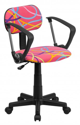 Multi Colored Swirl Printed Pink Computer Arm Chair