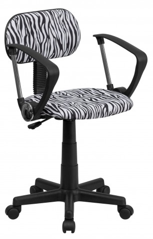 1000537 Zebra Print Computer Arm Chair
