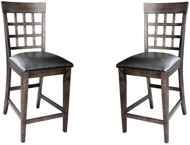 Bristol Point Warm Grey Lattice Back Counter Chair Set of 2