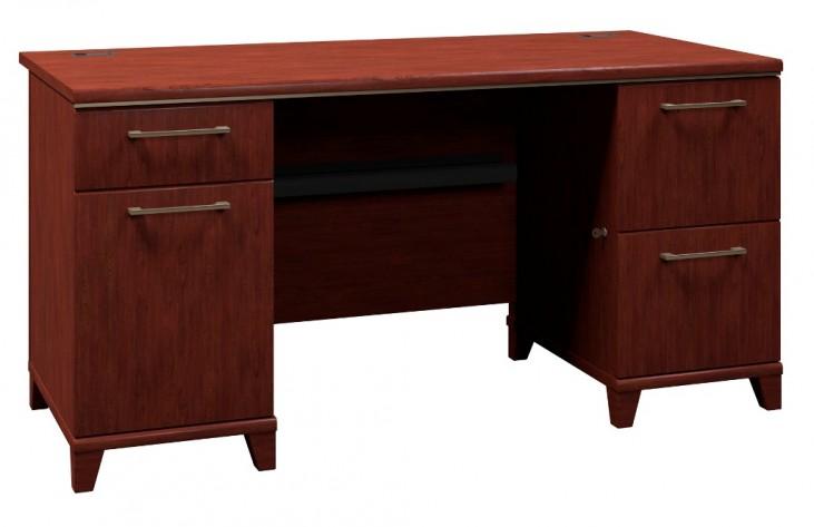 Enterprise Harvest Cherry 60 Inch Double Ped Desk