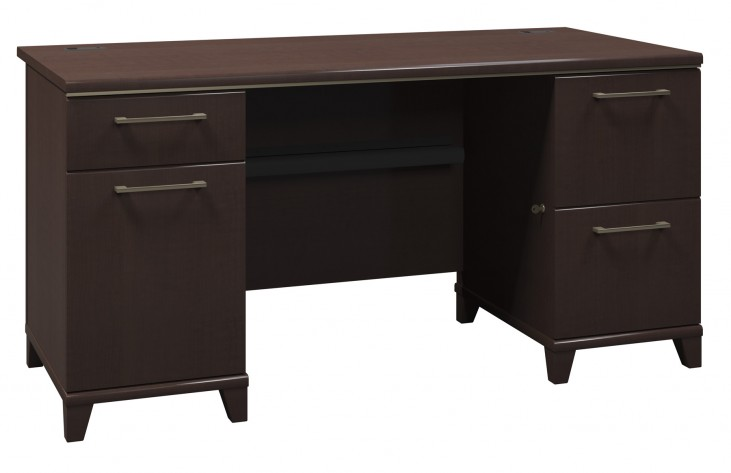 Enterprise Mocha Cherry 60 Inch Double Ped Desk